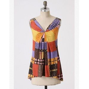 Anthropologie A Common Thread Printed Beaded Top